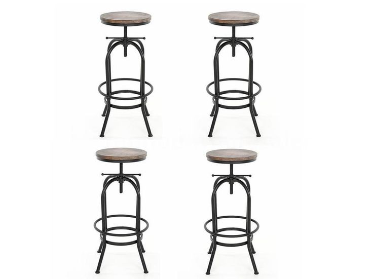 4X Vintage Bar Stool Industrial Metal Design Wood Adjustable Height Swivel Y8U3