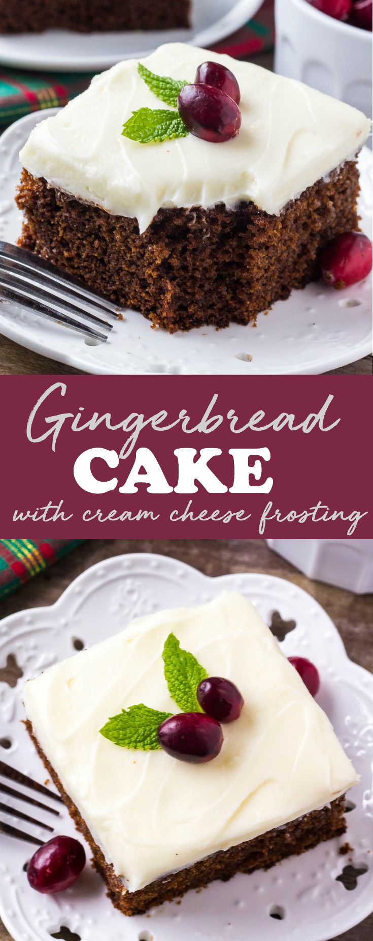 This moist gingerbread cake with cream cheese frosting is perfect for the holidays. Filled with ginger, cinnamon, brown sugar & molasses - it's packed with warm, cozy flavors. via @ohsweetbasil