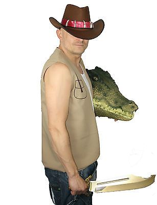#Crocodile mick dundee australian #fancy dress costume hat & #waistcoat , View more on the LINK: http://www.zeppy.io/product/gb/2/400904230701/