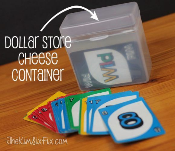 Do your small Family Game Night pieces end up everywhere? Store cards and came pieces in an upcycled plastic cheese container (this one from the dollar store) Memorable Family Game Night Ideas and Tricks on Frugal Coupon Living.