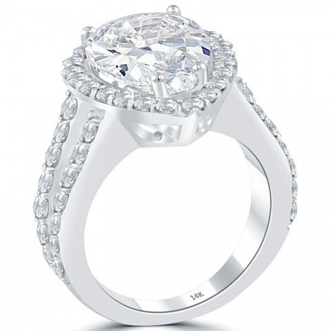8.01 Carat D-SI3 Pear Shape Diamond Engagement Ring 14k White Gold Pave Halo - Vintage Engagement Rings - Engagement