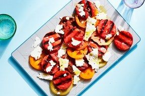 3 Ingredient Grilled Watermelon Tomato Feta Salad
