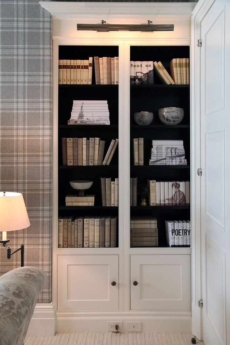 The Grey Bedroom of the New York Kips Bay Decorator Show House 2015 by Los Angeles-based designer David Phoenix features a greige tartan, canopy bed, and metallic wall papered ceiling.  #interiors #InteriorDesign #DavidPhoenix #KipsBayDecoratorShowHouse2015  More at: http://designlifenetwork.com/kips-turns-100/