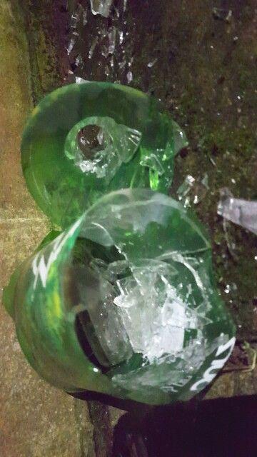 More smashed bottles