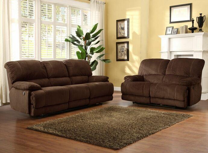 2 Pc Sullivan Collection Dark Brown Textured Fabric