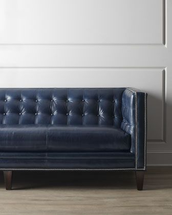 Onetta Leather Sofa By Massoud At Horchow Navy Leather Nailhead