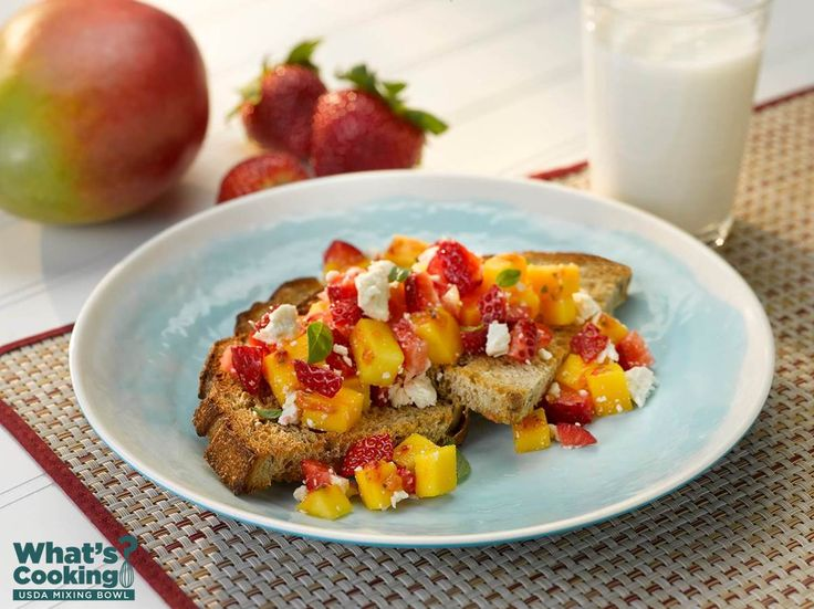 Strawberry Mango Feta Toast Points #fruit #grains #dairy #MyPlate #WhatsCooking (Source: MyPlate)
