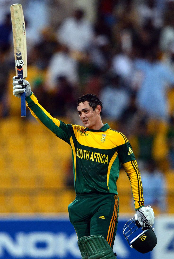 103-2. Quinton de Kock celebrates his century, Pakistan v South Africa, 4th ODI, Abu Dhabi, November 8, 2013