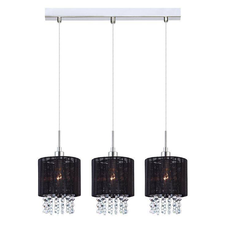 Lampa wisząca z kryształami zwis żyrandol Italux Astra 3x40W E14 czarna MDM1953-3 BK hurtelektryczny.pl