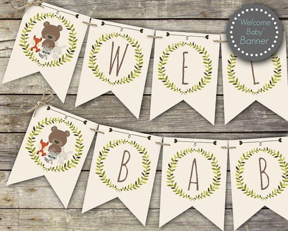 Woodland baby shower banner Welcome Baby banner printable