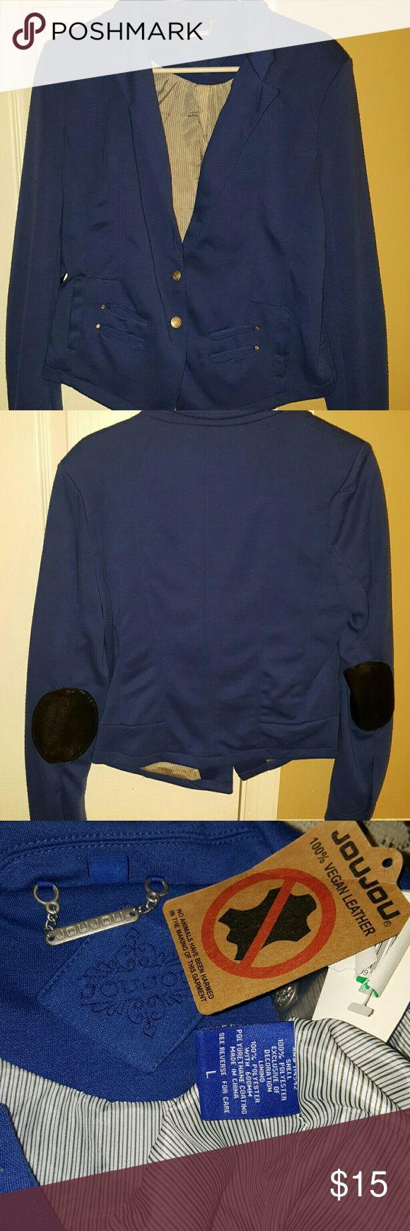 Precious royal blue jacket Royal blue jacket with 100% vegan leather patches on the elbows. Jou Jou Jackets & Coats Blazers
