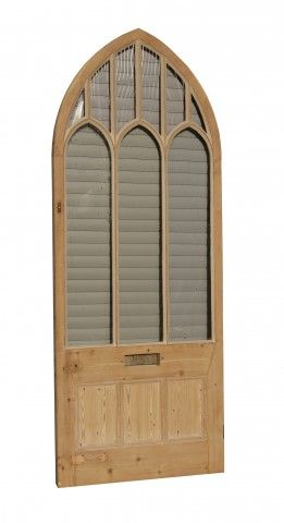 A large glazed arched top front door constructed from pine. Fully glazed.  Height 290 cm Width 114 cm Thickness 6 cm