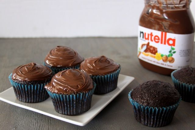 One bowl chocolate cupcakes with Nutella instead of frosting :)