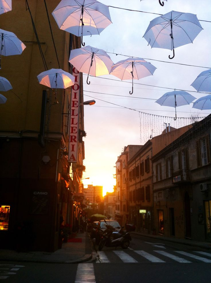 Christmas installation at the sunset in Sassari