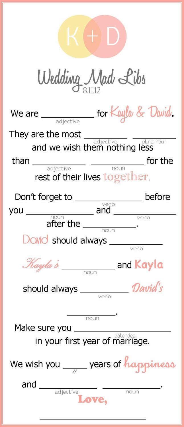 Wedding Mad Libs - Wedding Activity for Guests - 3 to a page (Printable). $10.00, via Etsy.