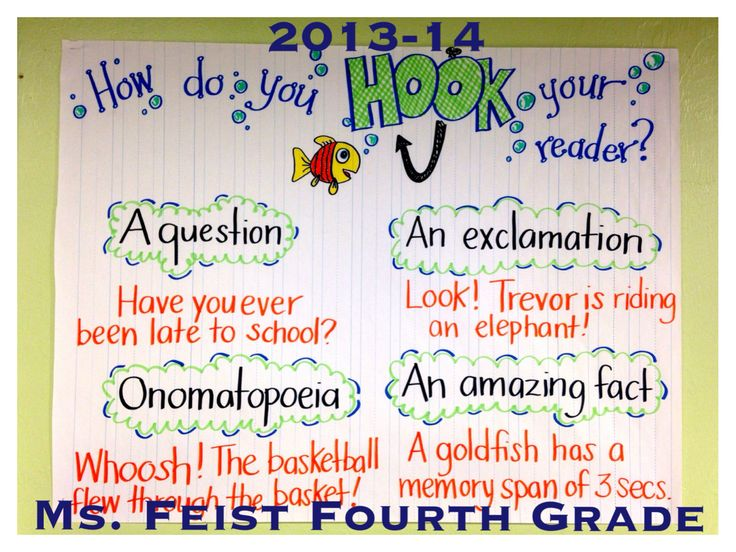 "Narrative writing starts with a good ""HOOK""!"