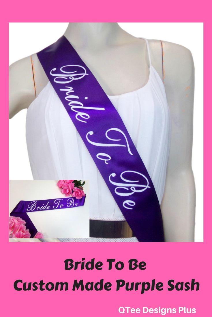 89c5599db Bride To Be Purple Sash with gorgeous white glitter print. Get these satin  sashes