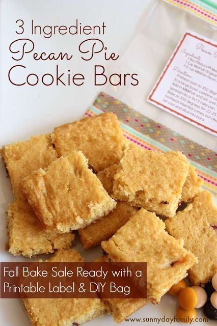 Pecan Pie Cookie Bars with only 3 ingredients - perfect Fall bake sale idea with DIY packaging and printable recipe labels! #BakeInTheFun [ad]