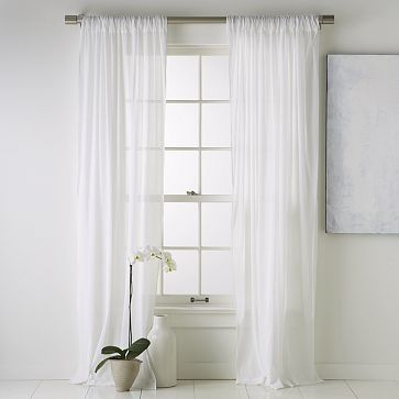 $24 each panel Crinkle-Cotton Window Panel free shipping from West Elm - obviously a lot shorter for my tiny window!
