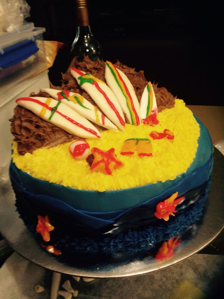 Beach cake.  Marshmallow fondant.  Vanilla cake / vanilla buttercream.  First full sized cake I've made.