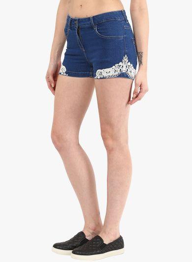 Denim Shorts In Blue Dark Wash With Lace Detailing Around Hemline