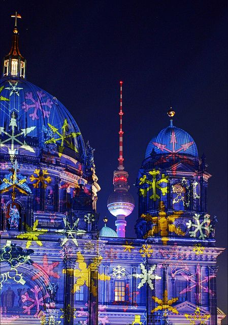 ღღ Berlin Cathedral and Television tower illuminated during the yearly Festival of Lights