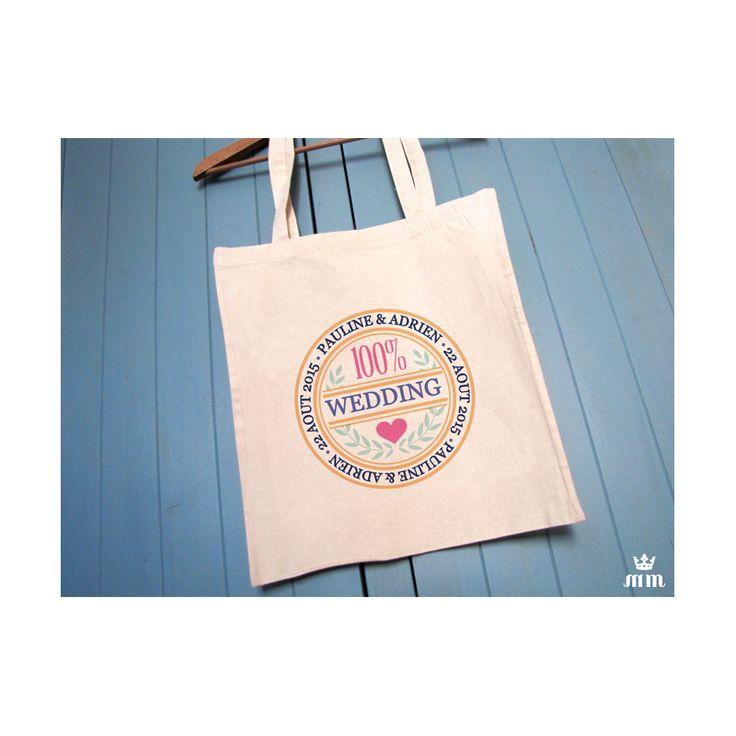 Tote bag mariage Lovely geometrique, sac en coton personnalisé idéal comme cadeau témoin, pour les enterrements de vie de jeune fille (EVJF) ou en remerciement. Ce Wedding Bag sera un souvenir idéal de votre mariage.