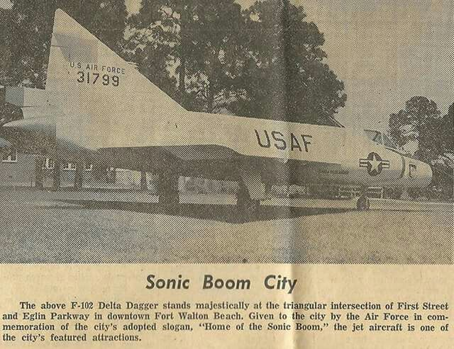A half-tone newspaper photo of F-102A-15-CO, 53-1799, one of the short-finned aircraft, as printed in the Playground Daily News in 1961 shortly after the jet was retired at Eglin AFB and placed on display in downtown Fort Walton Beach, Florida. Donated back to the infant Air Force Armament Museum in October 1978, it was found to have too much corrosion after over fifteen years in the humid Gulfcoast sea air for preservation and probably ended up out on the ranges as a target.