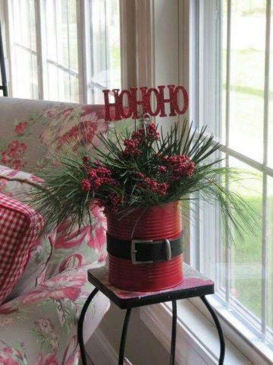 Tin can planter   Holidays   Pinterest   Christmas, Christmas crafts and Christmas decorations