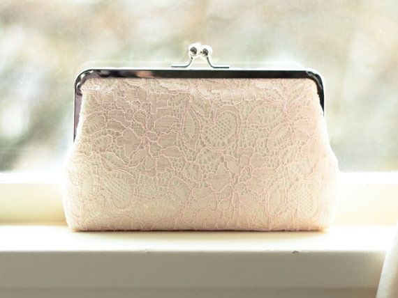 Bridal Clutch / Brush Lace Clutch / Wedding Purse (Antoinette Clutch : Blush on Ivory) $73.47