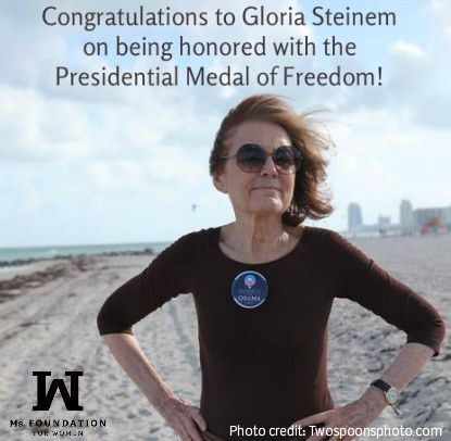 We're thrilled that Ms. Foundation for Women co-founder Gloria Steinem will be presented with the Presidential Medal of Freedom!