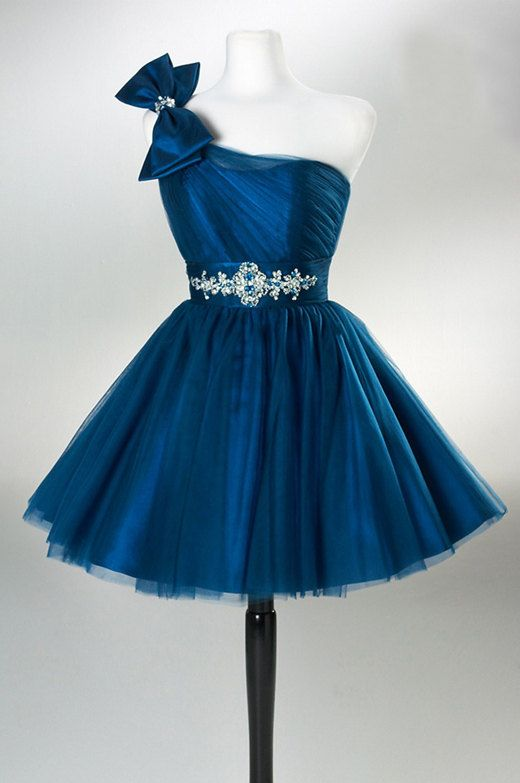 Charming PROM Dress Tulle EVENING Dress One-Shoulder PARTY Dress Short Noble Homecoming Dress