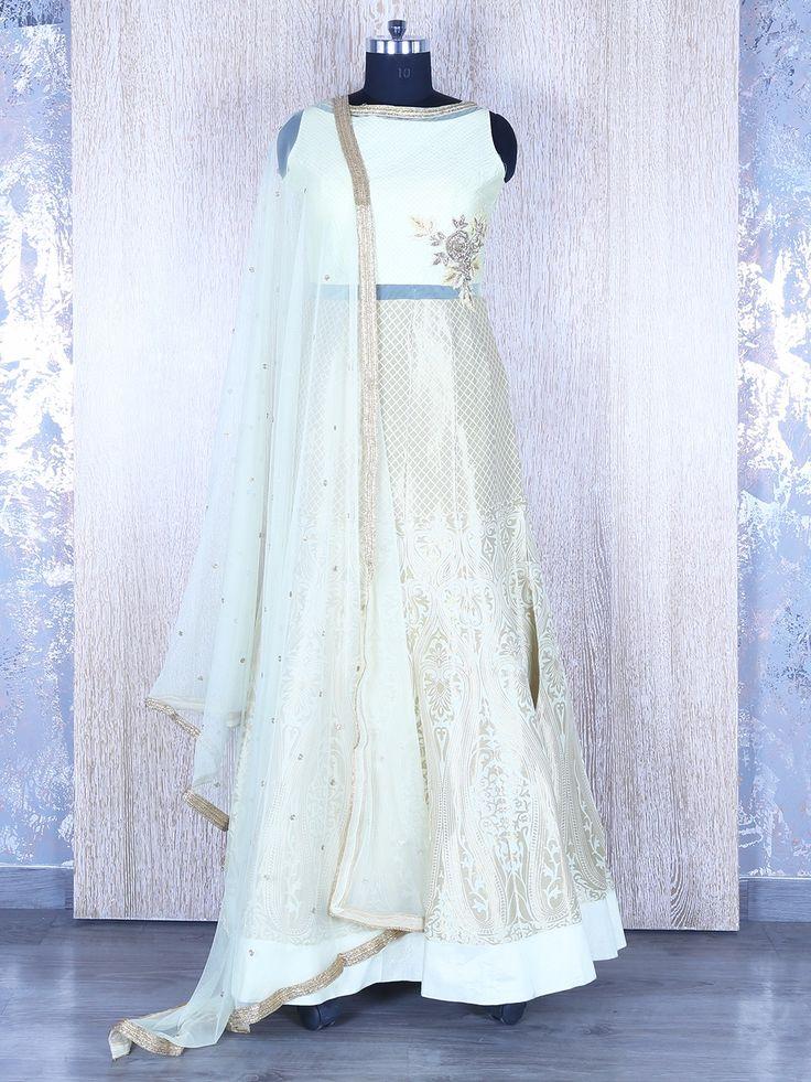 Light Green Silk Designer Anarkali Suit