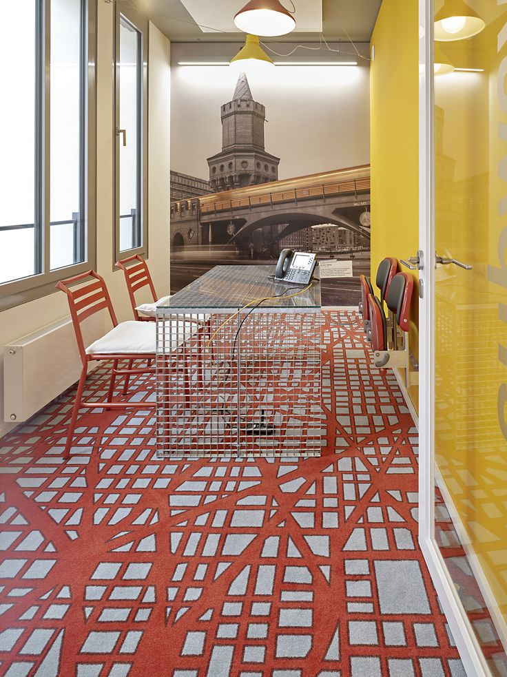 Location: Booking.com, Germany. #carpet #design On grid orange from the Almanac collection. #office #officedesign #flooring #egecarpets