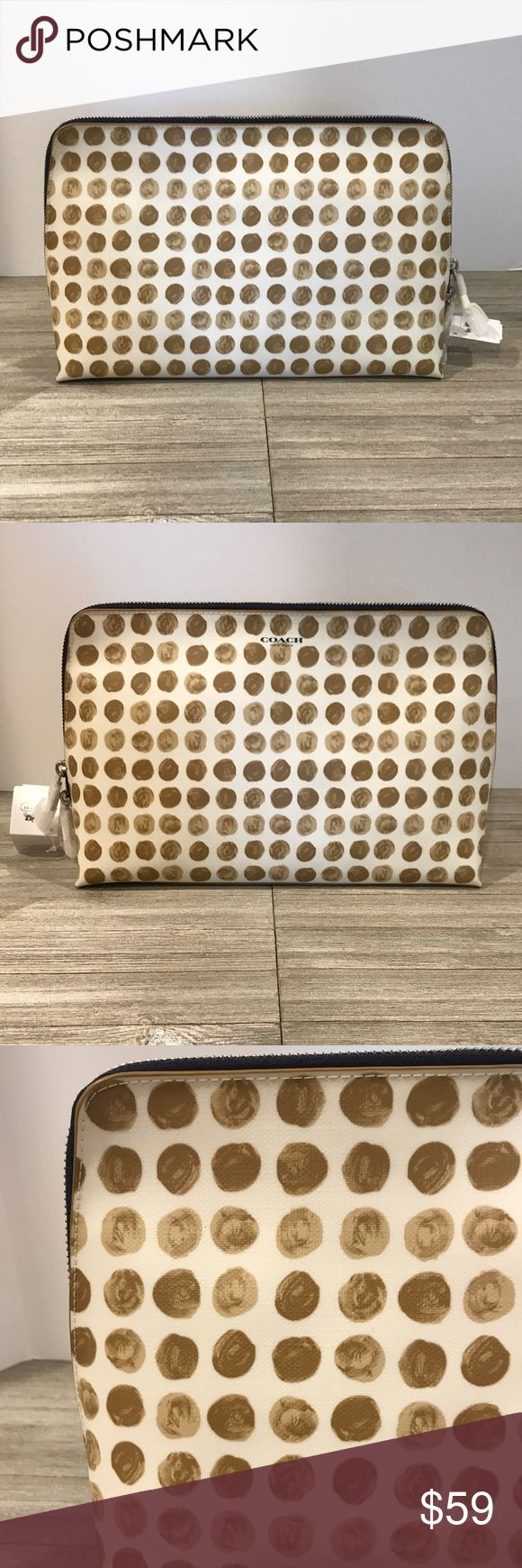 """Coach Large Cosmetic Bag Brand New With Tags....Coach """"Dots"""" large cosmetic bag. Color exterior: Cream w/ different color brown/tan dots. Color interior: Tan. Zipper and hardware is the silver color. Coach Bags Cosmetic Bags & Cases"""
