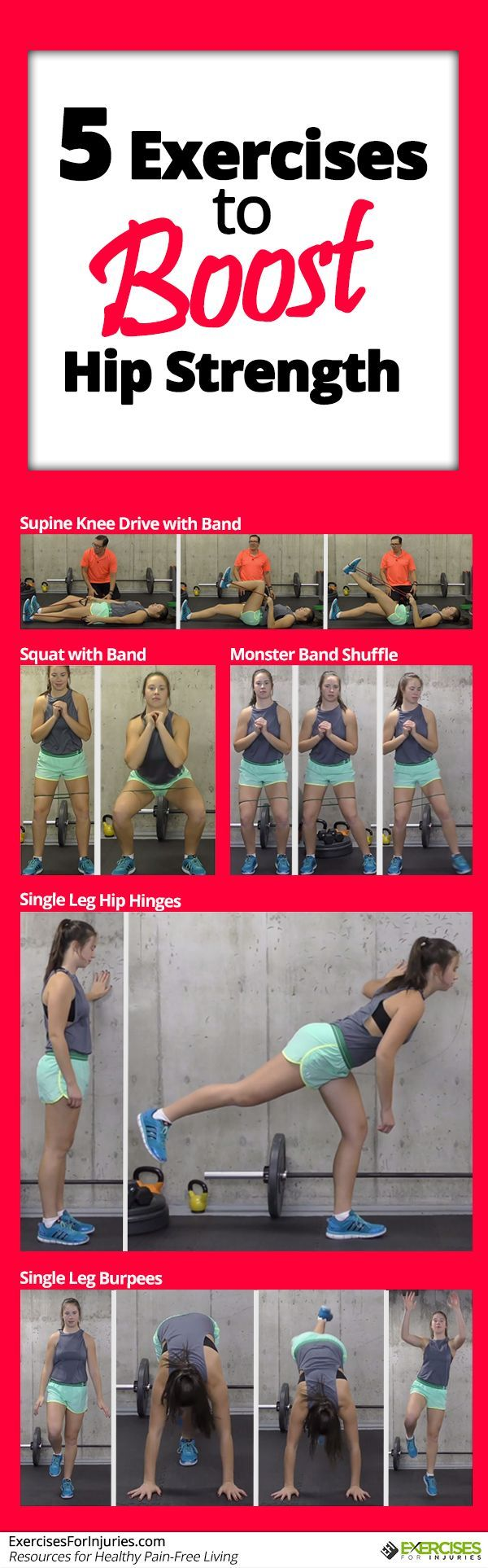 5 Exercises to Boost Hip Strength  Click here - http://exercisesforinjuries.com/5-exercises-to-boost-hip-strength/