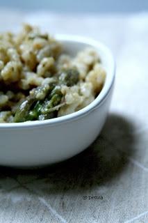 Risotto asparagi crema di asparagi e mandorle