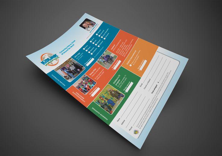 Kettle Fire Creative, Kidlink Pledge Flyer, Kidlink International, ministries, children, advertising, marketing, fundraising, donation, blue, orange, green, yellow, form