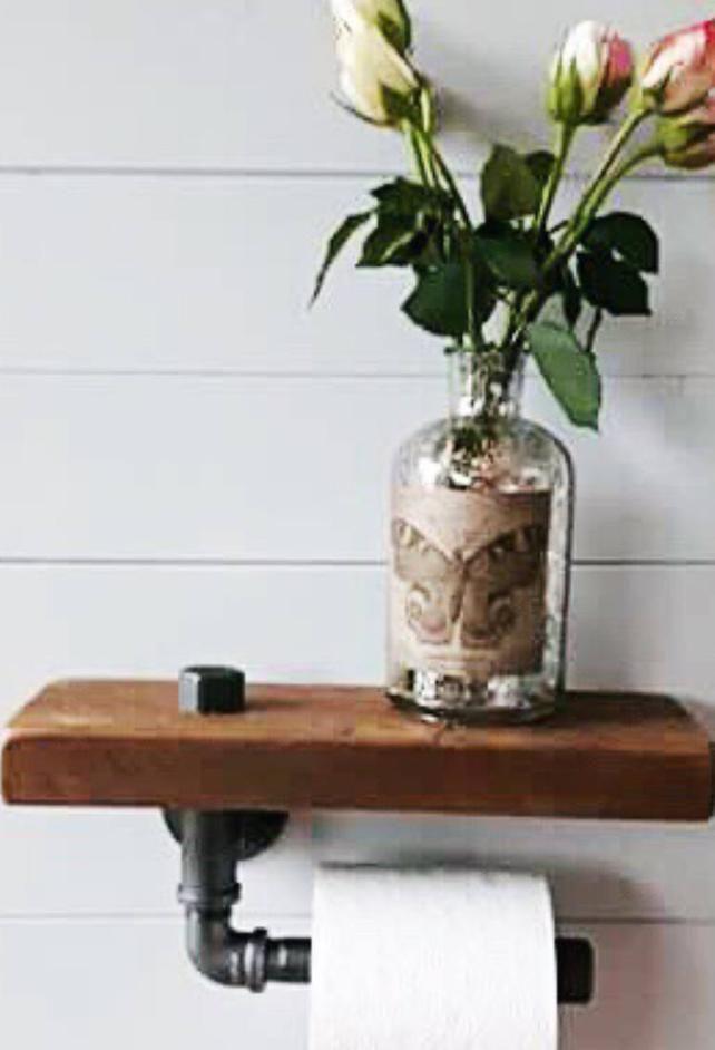 Rustikale Badezimmer Badezimmer Regal Holz Etsy Toilet Roll Holder Industrial Toilet Paper Holder Toilet Paper Holder Shelf