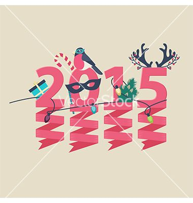 2015 new year greeting card design vector