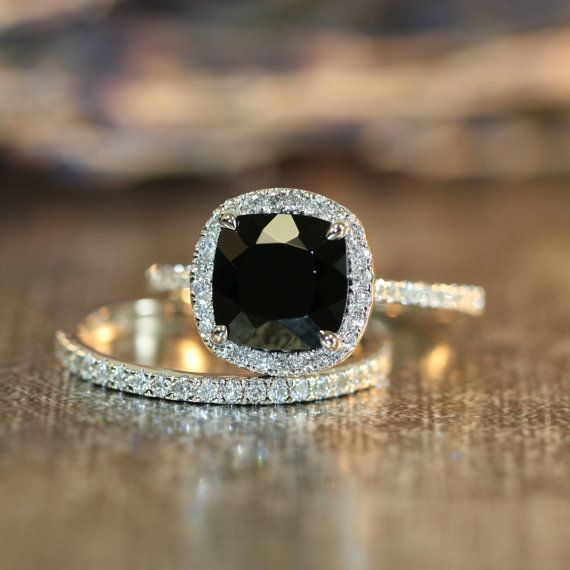 Halo Diamond Black Spinel Engagement Wedding Ring Set in 14k White Gold Half Eternity Diamond Band 8x8mm Cushion Black Gemstone Ring