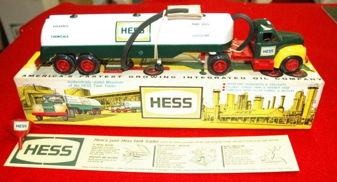 The Hess toy truck that started it all was 1964-65's Hess Tanker Trailer, an authentically-styled miniature of the real deal. It featured battery-powered head and tail lights and a cargo tank that could be filled with water. An original can fetch four figures!: Hess Tanker, Hess Trucks, Authentically Styled Miniature, Cargo Tank, Original, Hess Toy Trucks, Gift Tradition, Christmas Gifts