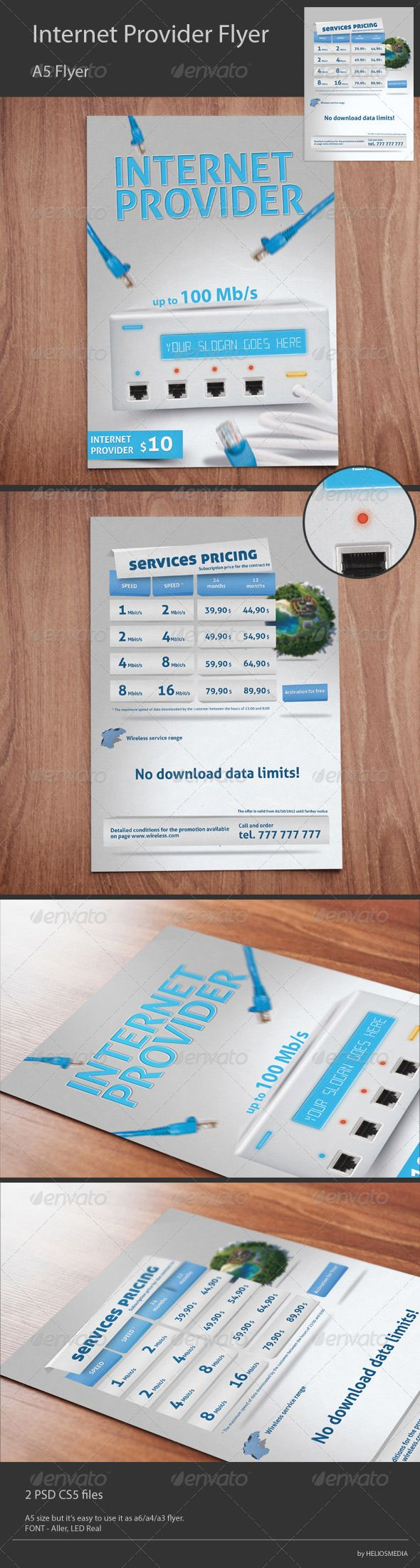 Wireless Internet Provider Flyer — Photoshop PSD #internet #a5 • Available here → https://graphicriver.net/item/wireless-internet-provider-flyer/3227501?ref=pxcr