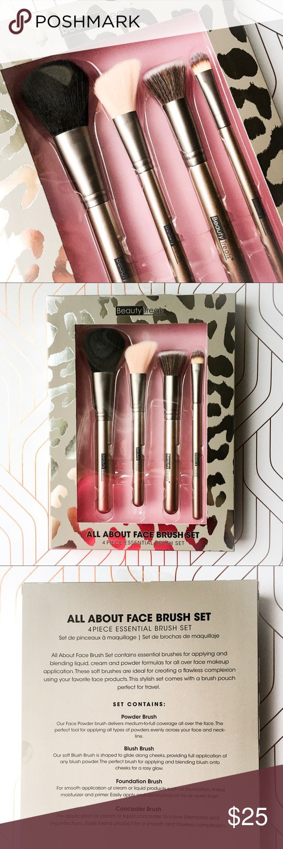 🆕the all about face brush set • style name: the all about face brush set • color: silver/mixed natural bristles • 4 piece essential makeup brush set • includes powder, blush, foundation, & concealer brushes • condition: brand new boutique item ____________________________________________________ ✅ make an offer!     ✅ i bundle! ✅ posh compliant closet ⛔️ no trades 🛍 boutique item Makeup Brushes & Tools