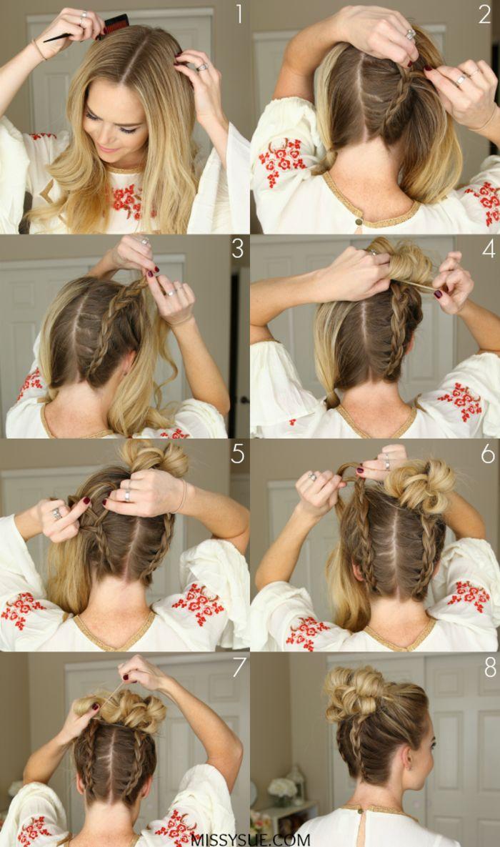 Dutt Frisur mit zwei Zöpfen selber machen, Anleitung in Bildern, Hochsteckfrisur für lange Haare leicht gemacht