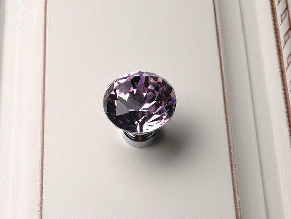 Purple Knob Crystal Knobs Glass Dresser Drawer Pulls Handles Lavander