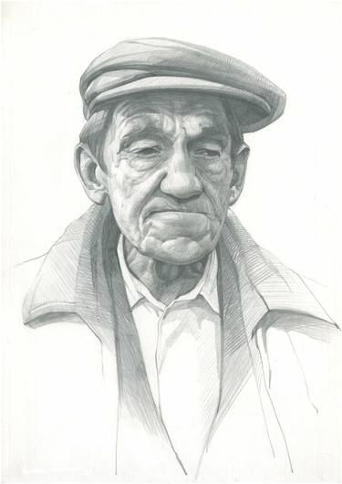 "Saatchi Art Artist Victoria Radionova; Drawing, ""Portrait of an Old Man in a Cap."" #art"