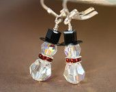 Swarovski Earrings, Christmas Earrings, Snowmen Earrings, Holiday Jewelry,Snowmen, Crystal Earrings