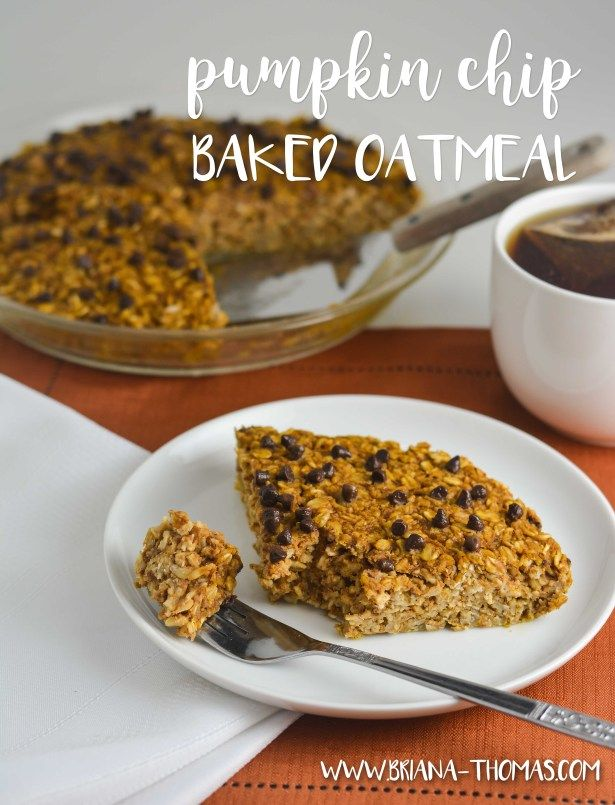 Pumpkin Chip Baked Oatmeal - THM:E, low fat, sugar free, no special ingredients