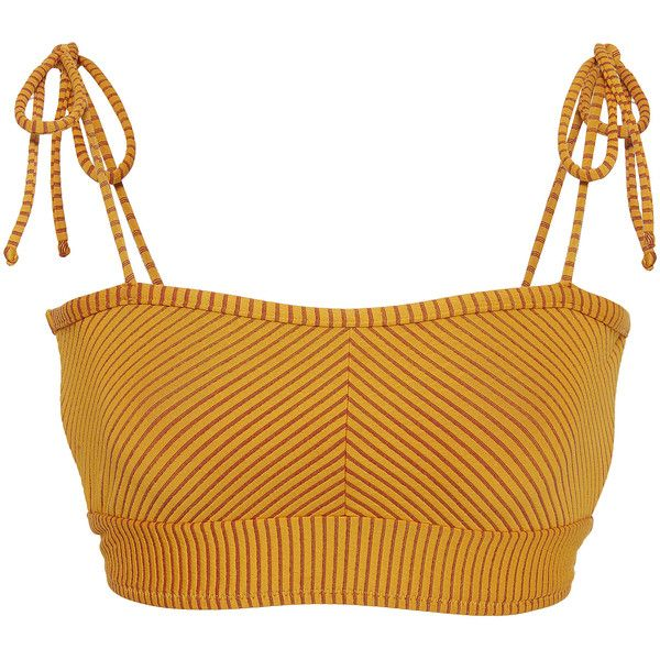 Made By Dawn Ribbed Bikini Top ($140) ❤ liked on Polyvore featuring swimwear, bikinis, bikini tops, yellow, swimsuit tops, yellow swimwear, yellow swimsuit top, yellow bikini top and swim tops